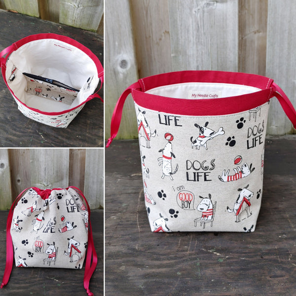 Dogs Life Print Divided Knitting Bag