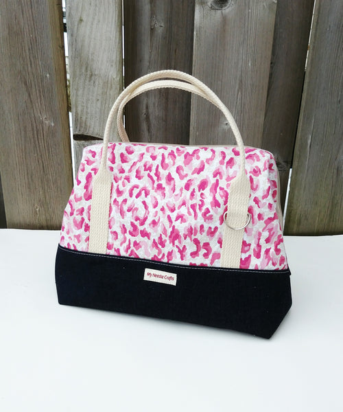 Pink Animal Print Knit Night Bag