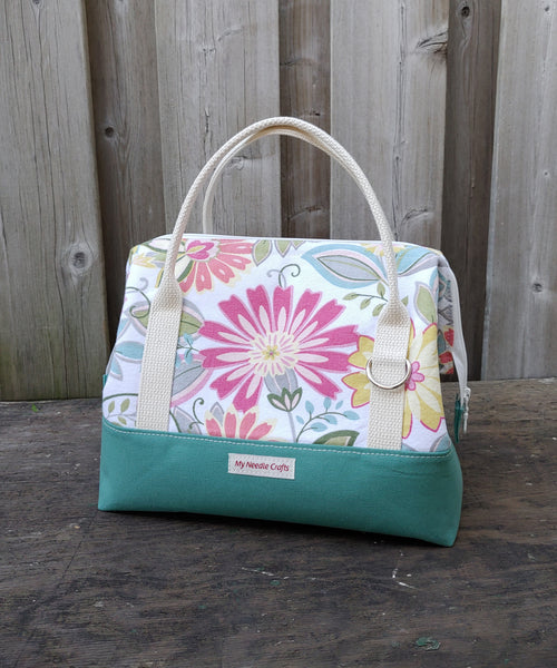 Summer floral print Knit Night Bag -  Turquoise