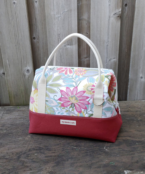 Summer floral print Knit Night Bag -  Coral