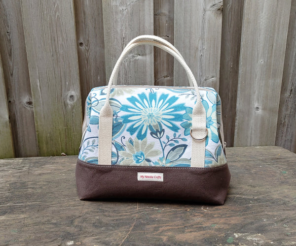 Teals and Chocolate floral print Knit Night Bag