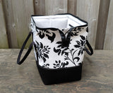 Black and White Damask print Knit Night Bag