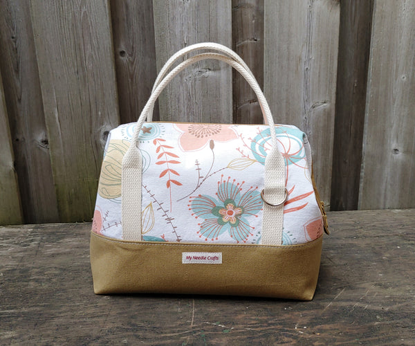 Camel and Flowers print Knit Night Bag