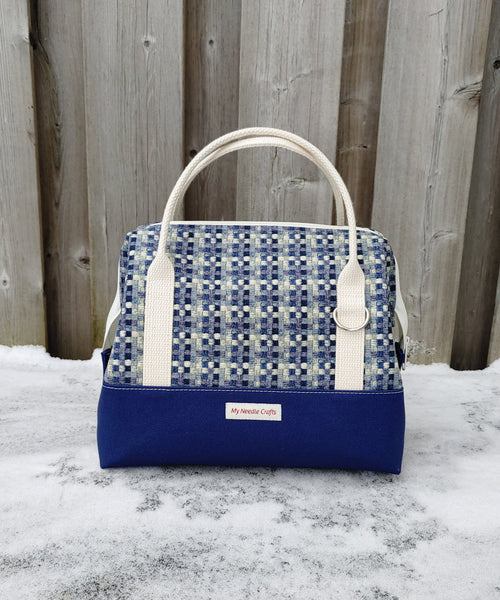Blue Check Print Knit Night Bag