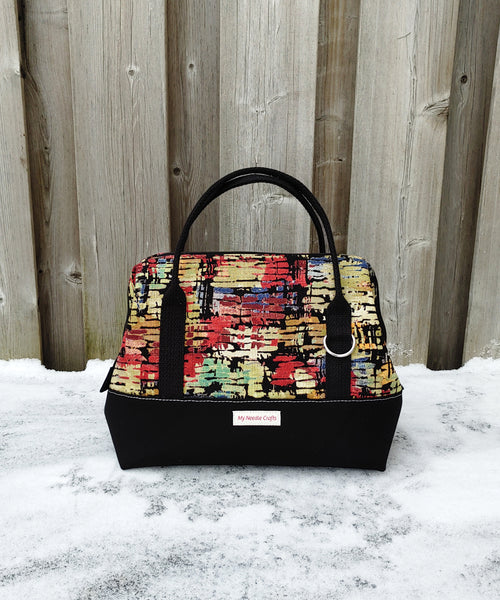 Dark Watercolor Print Knit Night Bag
