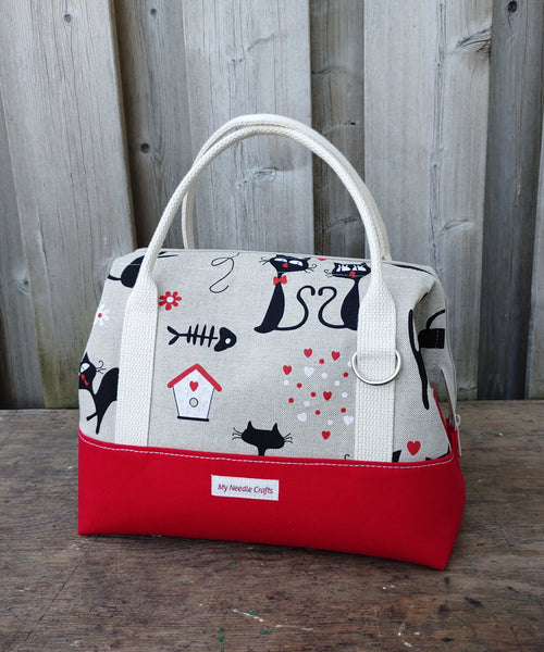 Red Cat Print Knit Night Bag