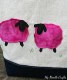 Pink wool sheep appliqued Linen and Denim Shawl Bag