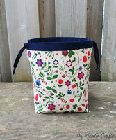 Strawberry and Flower Print Linen Bag