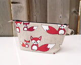 Fox Print Zippered Pouch for Knitting Notions