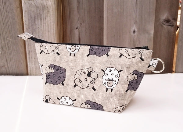 Sheep Print Zippered Pouch for Knitting Notions