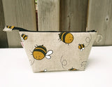 Bumble Bee Print Zippered Pouch for Knitting Notions