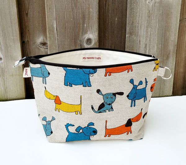 Doggy Print Linen Sock Bag