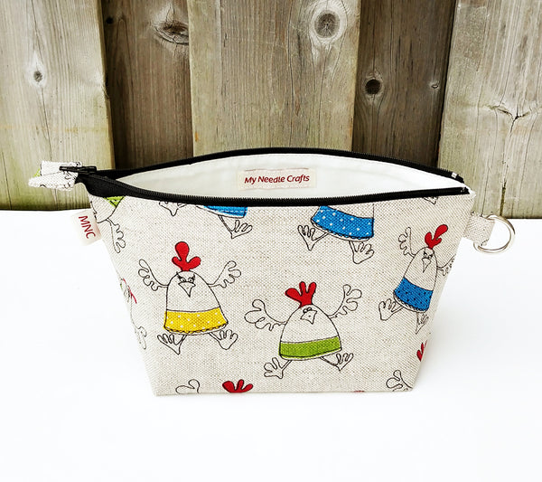 Chicken Print Zippered Pouch for Knitting Notions