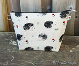 Hedgehog Print Linen Sock Bag