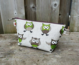 Green Owl Print Zippered Pouch for Knitting Notions