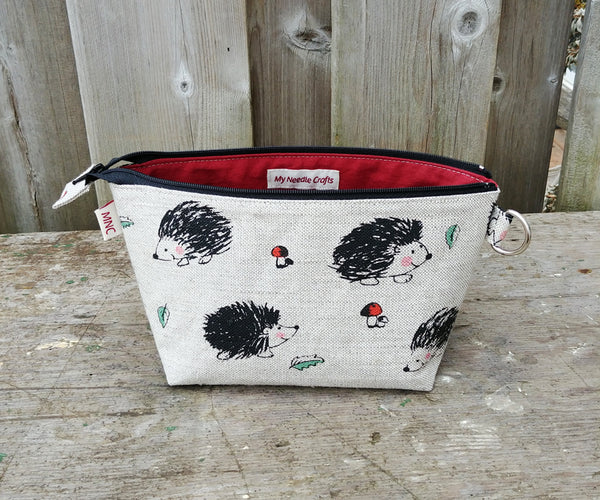 Hedgehog Print Zippered Pouch for Knitting Notions