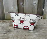 Red Owl Print Zippered Pouch for Knitting Notions