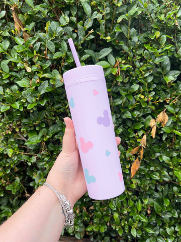 Purple tumbler with pastel mickey mouse