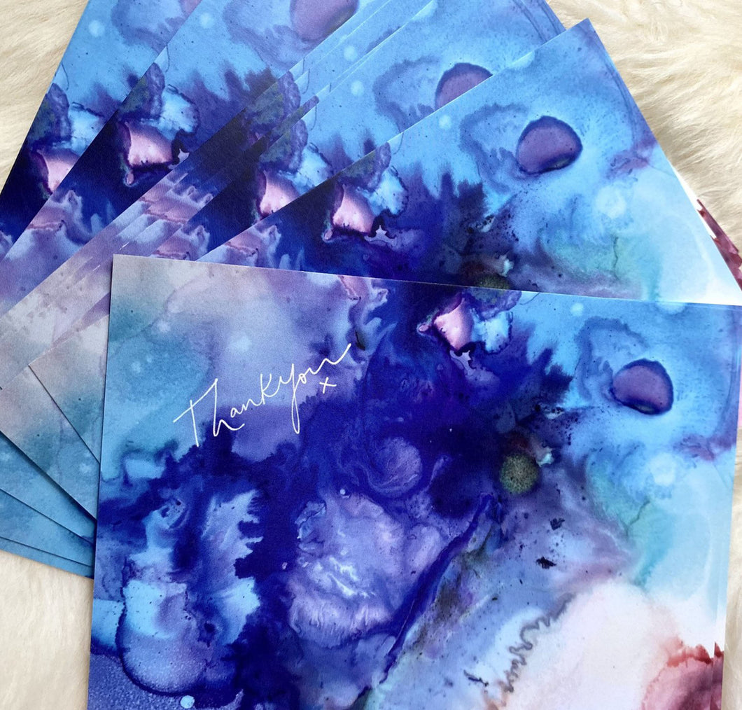 Fluid Art Thank You Postcards (8 pack)
