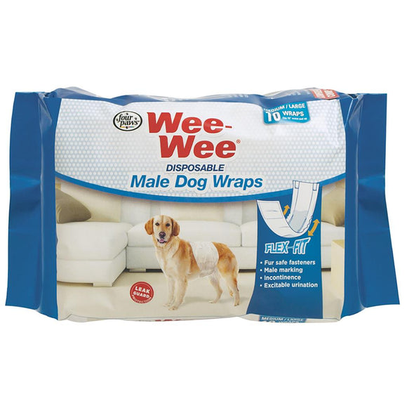 Wee-Wee Disposable Male Wraps Medium/Large 12PK