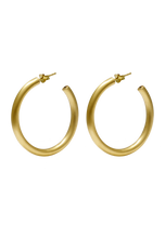 Load image into Gallery viewer, Hoop Stud Earrings Medium Gold brushed