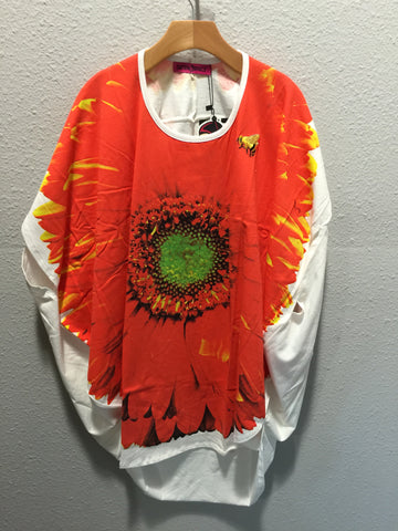 Outer Space Sun Flower Over Size Female Tee