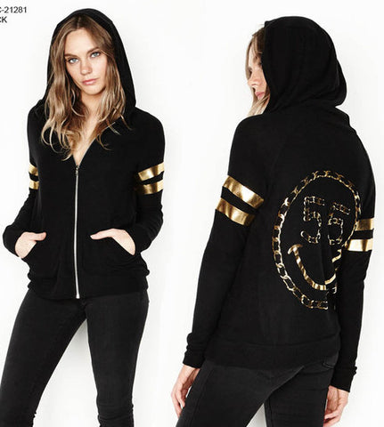 Lauren Moshi Jet Black With Fitted Zip Up Hoodie Foil