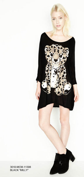 Lauren Moshi Milly 3/4 Sleeve Oversized (Brown Leopard)