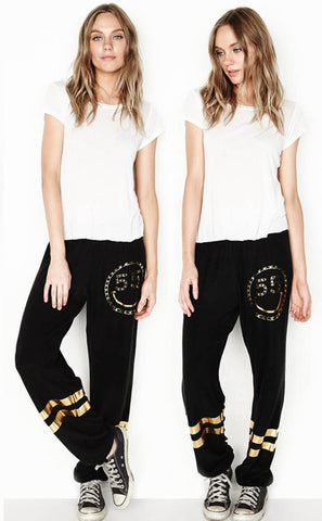 Lauren Moshi Jet Black Tanzy Long Pants Foil Chain