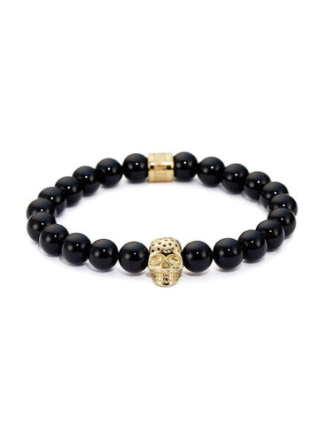 BLACK ONYX & PERFORATED GOLD SKULL CHARM BRACELET