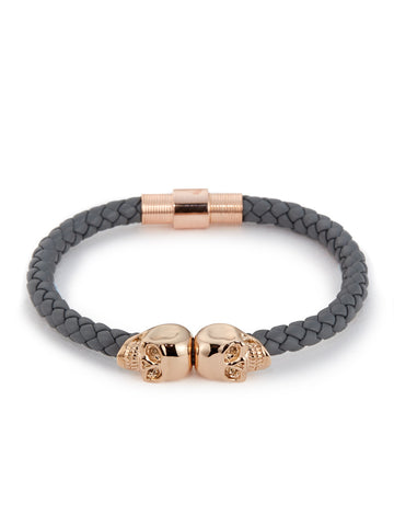 STEEL GREY NAPPA LEATHER/ 18KT. ROSE GOLD TWIN SKULL BRACELET