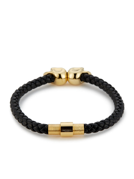 BLACK NAPPA LEATHER/ 18KT. GOLD TWIN SKULL BRACELET