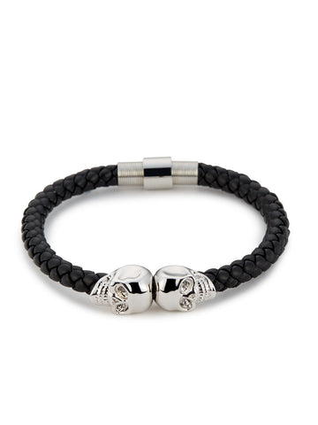 BLACK NAPPA LEATHER/ SILVER TWIN SKULL BRACELET