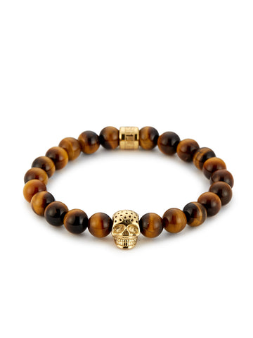 YELLOW TIGER EYE & PERFORATED GOLD SKULL CHARM BRACELET