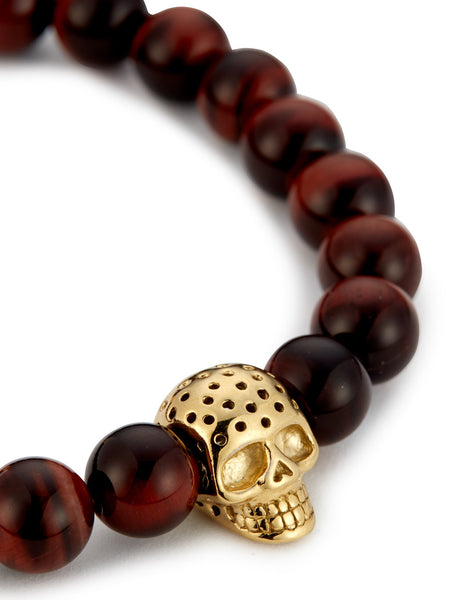 RED TIGER EYE & PERFORATED GOLD SKULL CHARM BRACELET