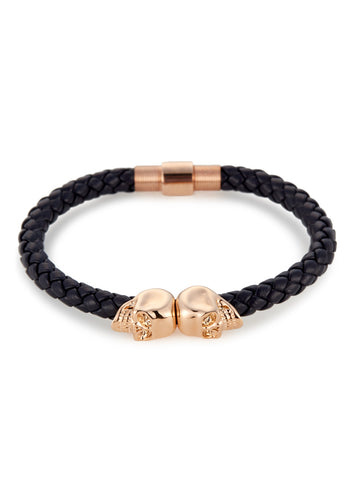 NAVY BLUE NAPPA LEATHER/ 18KT. ROSE GOLD TWIN SKULL BRACELET