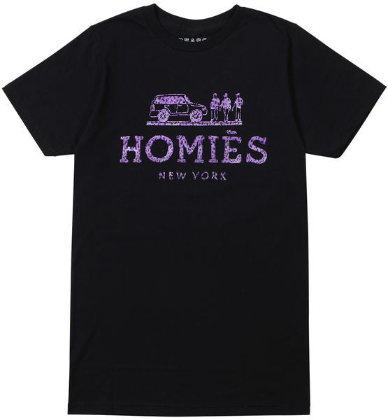 HOMIES NEW YORK TEE BLACK/PURPLE LEOPARD