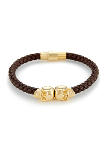 BROWN NAPPA LEATHER/ 18KT. GOLD TWIN SKULL BRACELET
