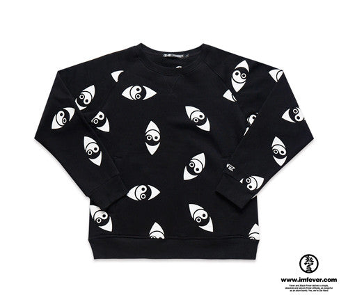 Black Fever Sweatshirt 太極眼 滿版大學