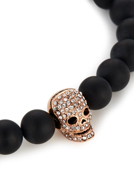 MATTE BLACK ONYX/ ROSE GOLD & CLEAR CRYSTAL SKULL BRACELET