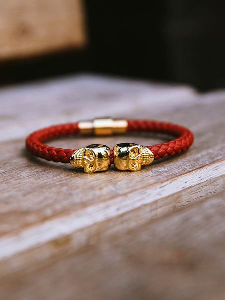 DEEP RED NAPPA LEATHER/ 18KT. GOLD TWIN SKULL BRACELET