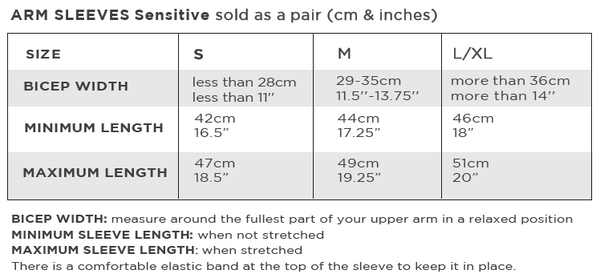 Sensitive Solbari Arm Sleeves UPF50+ sun protection