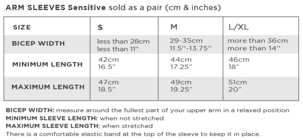 Solbari Size Chart Arm Sleeves Sensitive