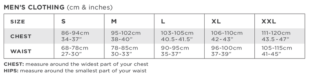 Solbari Men Clothing Size Chart