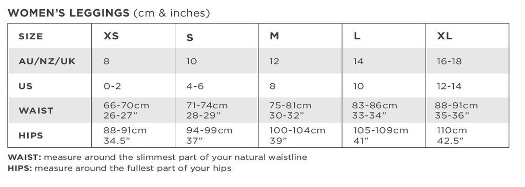 Solbari Women Leggings Size Chart