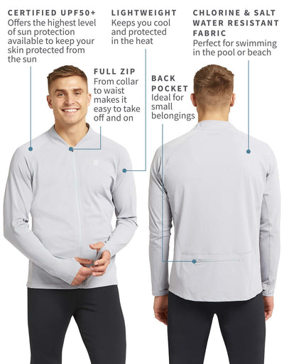 Full Zip Top with Back Zip Pocket UPF50+ Swimwear & Resort Collection