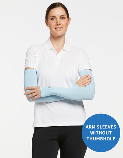 Solbari Sun Protection UPF50+ Women's Arm Sleeves Without Thumbholes Sensitive Collection in Light Blue