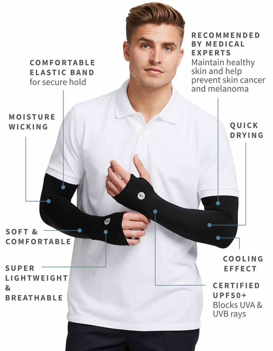 Solbari UPF 50+ Sun Protection Black Arm Sleeves for Men