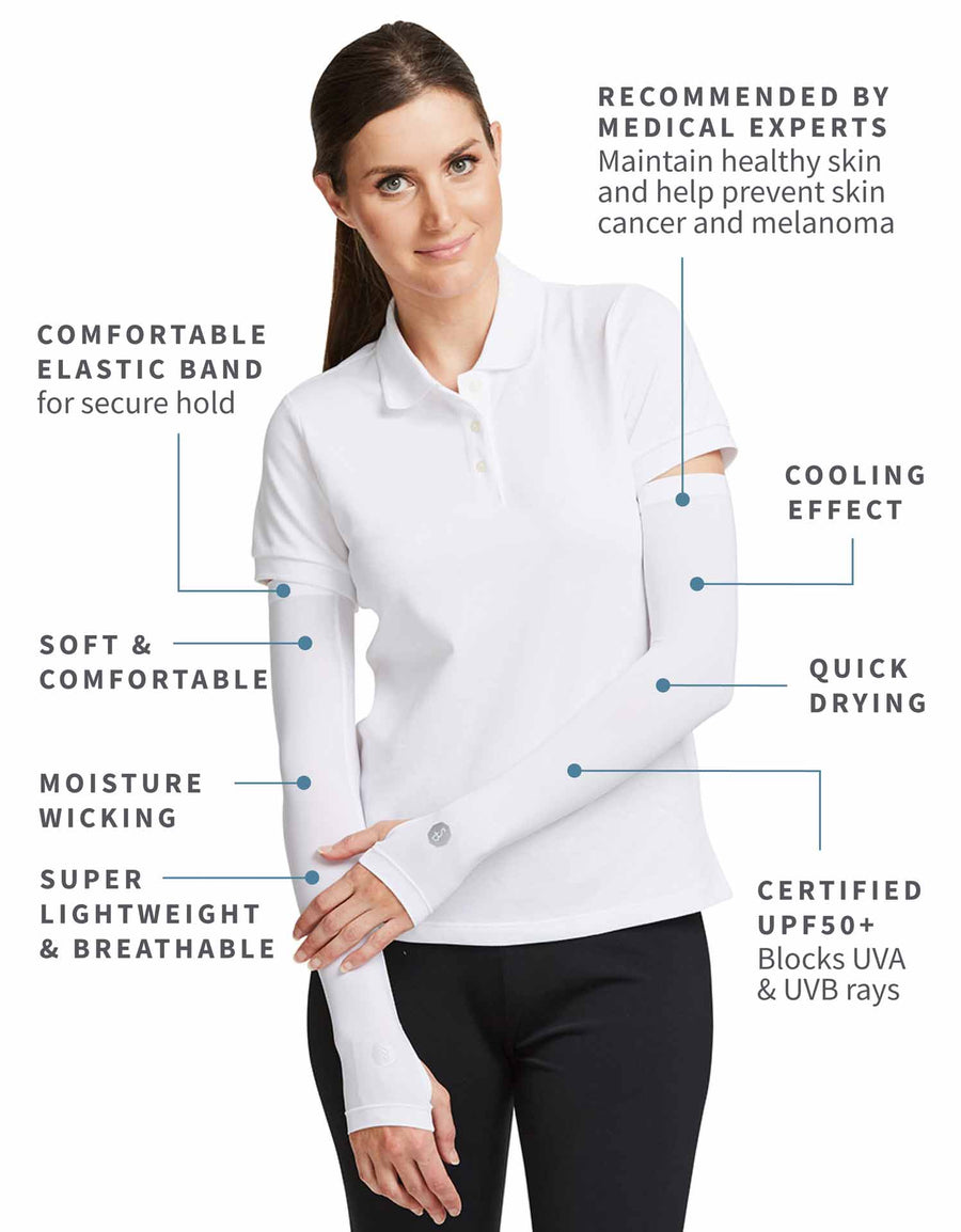 Solbari UPF 50+ Sun Protective White Arm Sleeves for Women