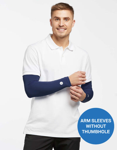 Solbari UPF 50+ Sun Protection Navy Arm Sleeves for Men